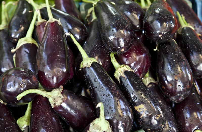 Dark-Purple, Wet Eggplants