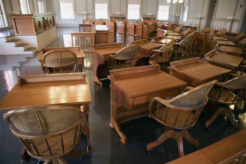 Desks at Senate Chamber