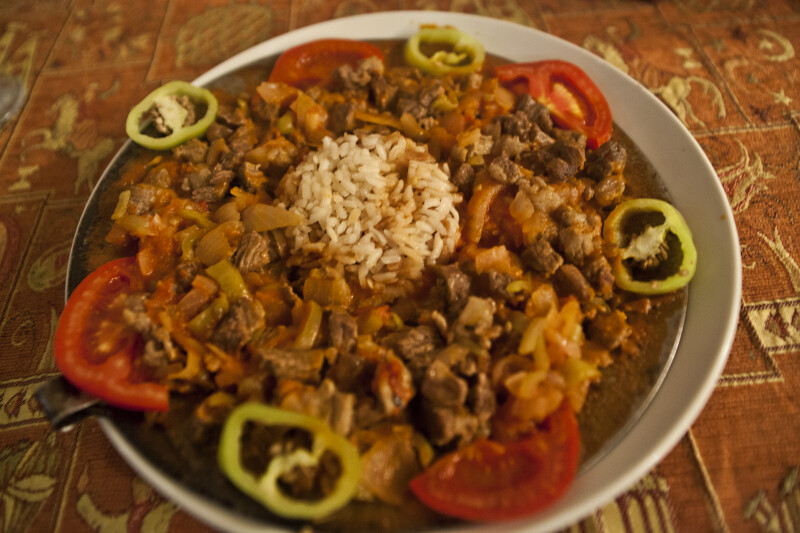 Dish Consisting of Meat, Rice, and Vegetables