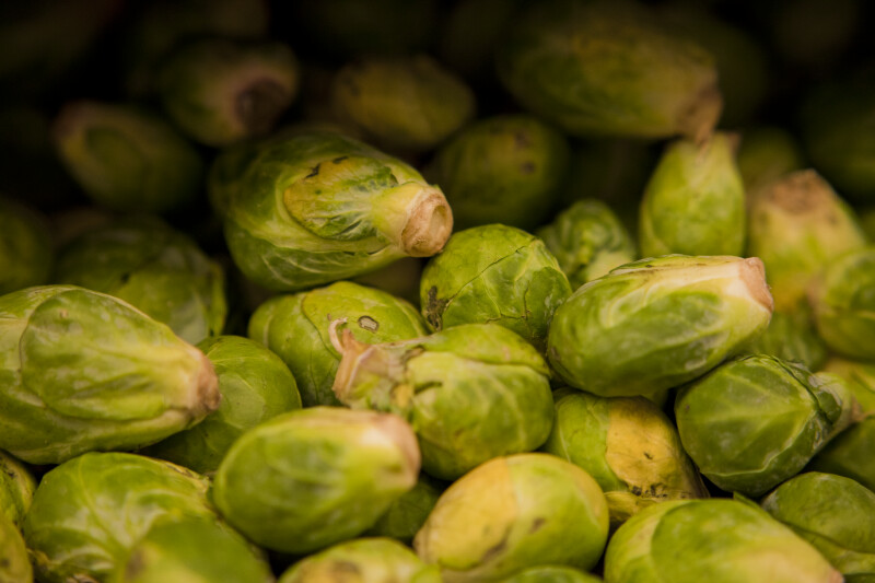 Display of Brussels Sprouts