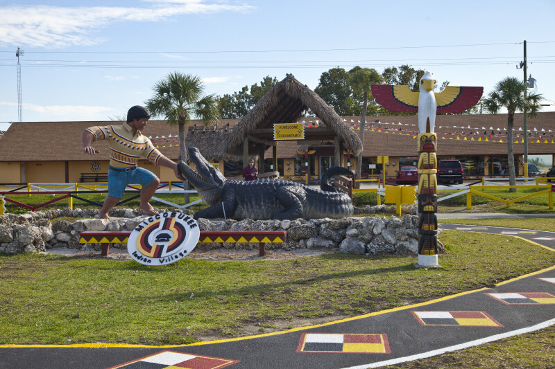 Display of Miccosukee Indian with Large Alligator