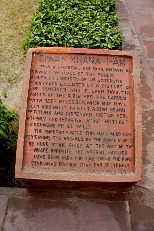 Diwan Khana-I-Am Informational Sign