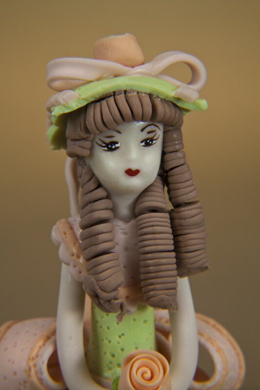 Dominican Republic Cold Porcelain Figurine of Young Girl with Curls and Bonnet (Close Up)