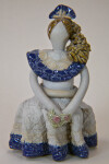Dominican Republic Female Figurine in Long Dress Holding Glazed Flowers (Full View)
