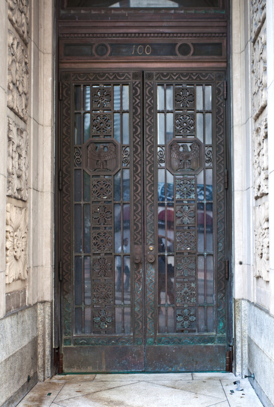 Double Doors with Metal Artwork