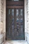 Double Doors with Metal Artwork