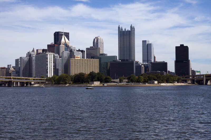 Downtown Pittsburgh, Including the U.S. Steel Tower, the Pittsburgh Hilton Hotel, and the PNC Bank
