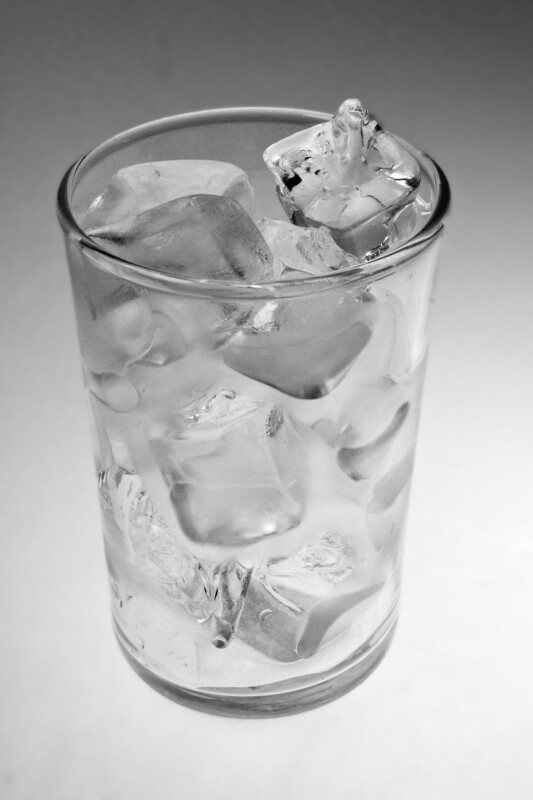 Drinking Glass Filled with Ice Cubes