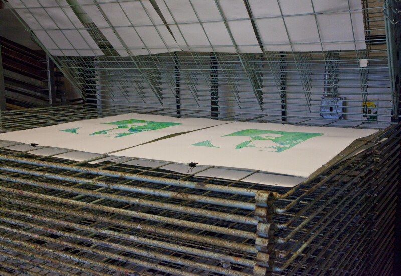 Drying Racks in a print shop.