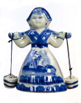 Netherlands Dutch Delft Milk Maid with Yoke and Buckets (Light Background)