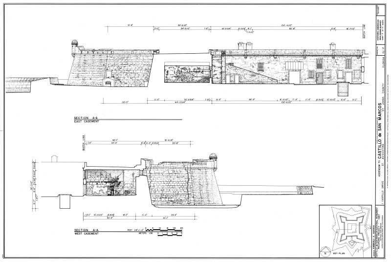 East and West Casement Section Drawings of Castillo de San Marcos, 1987