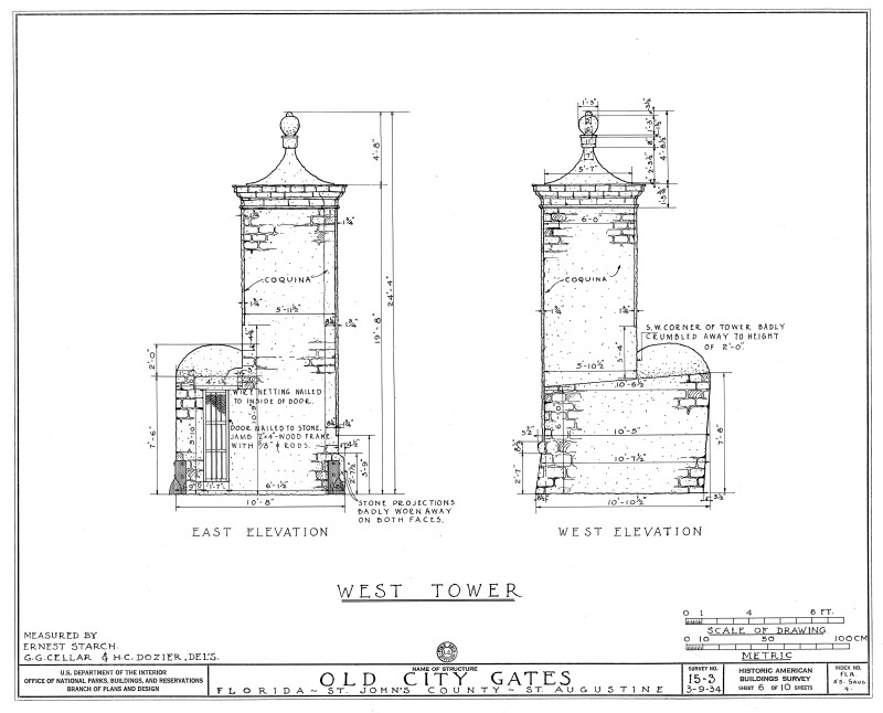 East and West Elevations of the West Tower