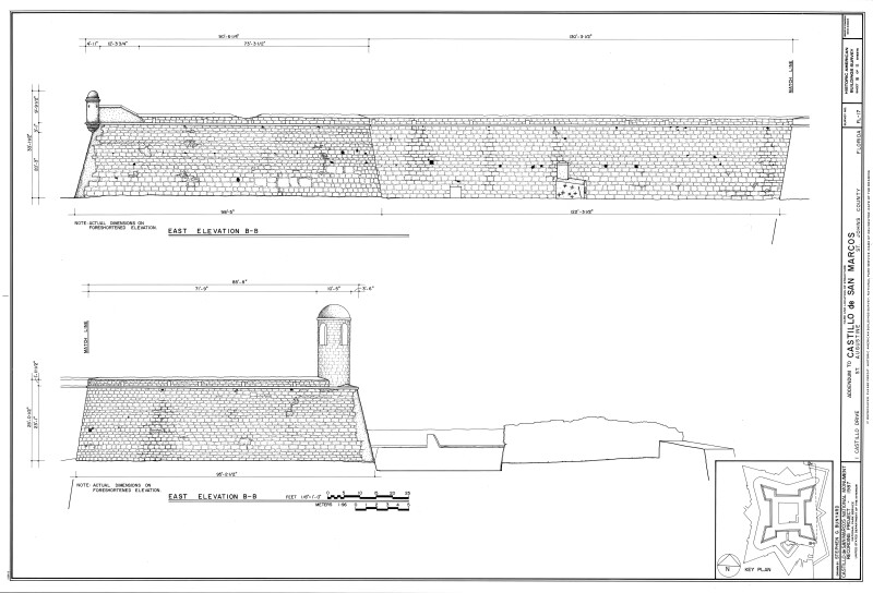 East Exterior Elevation Drawing of the Castillo de San Marcos, 1987