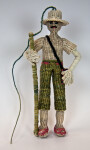 Ecuador Man Made with Woven Straw Wearing Hat and Holding Pole (Full View)
