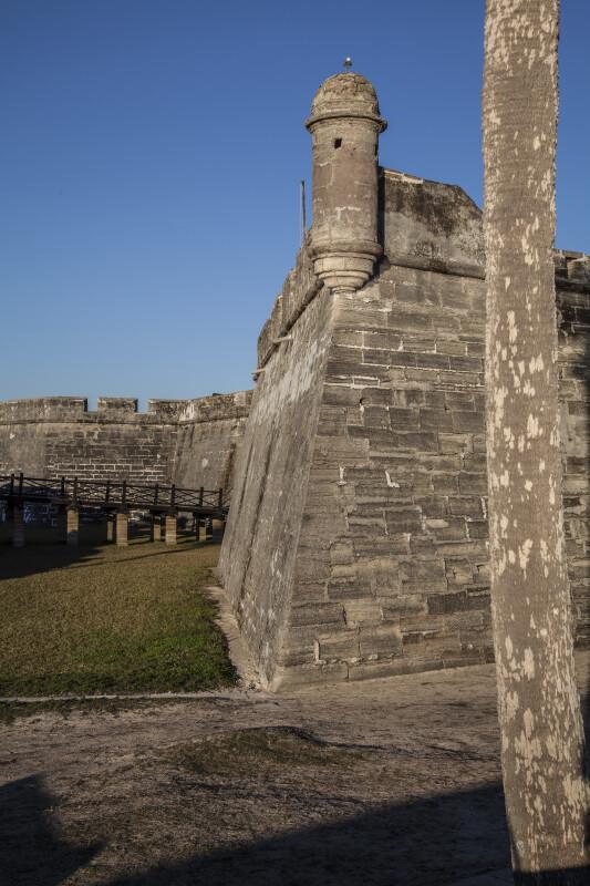 Edge of Castillo de San Marcos' Southeast Corner Along with the Fort's Bridge