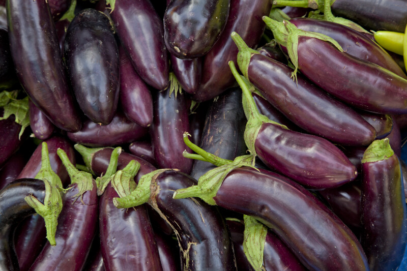 Eggplant on Display at an Outdoor Market in Kusadasi