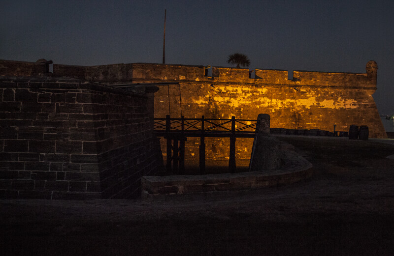 Elevated Walkway at  Castillo de San Marcos with Outer Wall of the St. Augustine Bastion in Background