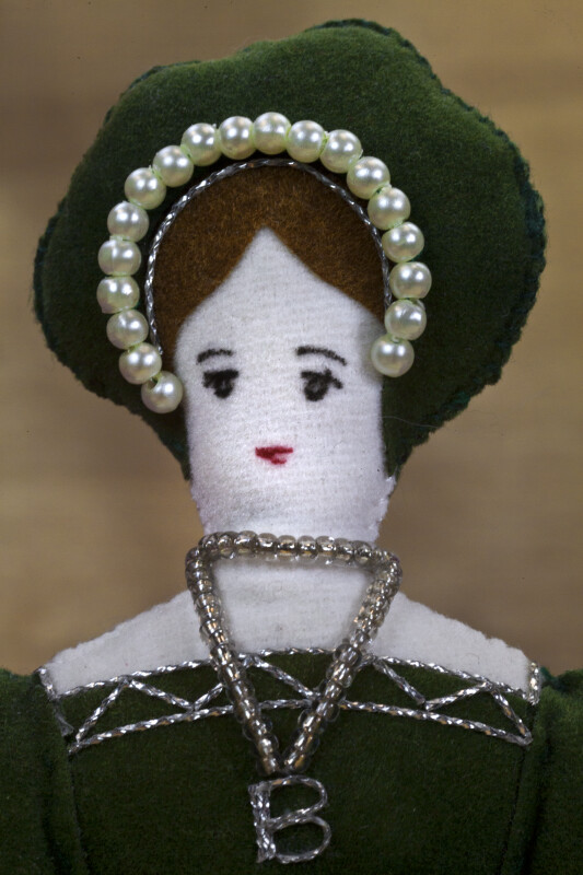 England Anne Boleyn Doll Second Wife of King Henry VIII Made with French Hood and B Necklace (Close Up)