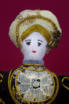 England Handcrafted Anne of Cleves Doll with High-Neck Dress and Jewels (Close Up)