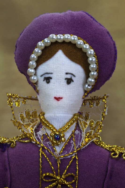 England Handcrafted Figurine of Katherine Parr Sixth Wife of Henry Made with Felt (Close Up)