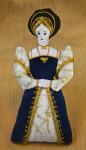 England Jane Seymour Third Wife of King Henry VIII Hand Made Doll with Cloth and Gold Applique (Full View)