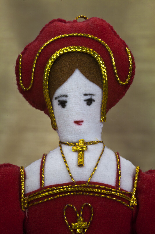 England Queen Catherine of Aragon, First Wife of Henry VIII Made with Felt and Cloth (Close Up)