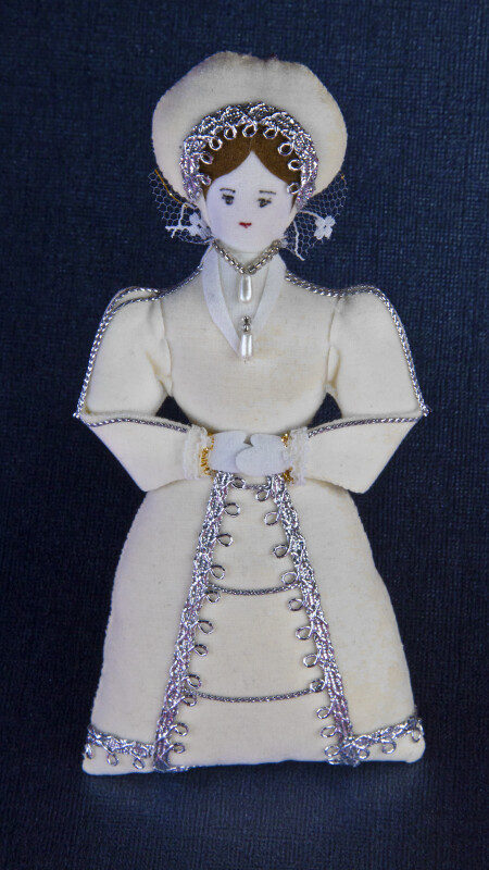 England Queen Katherine Howard Doll with White and Silver Gown and Hood (Full View)
