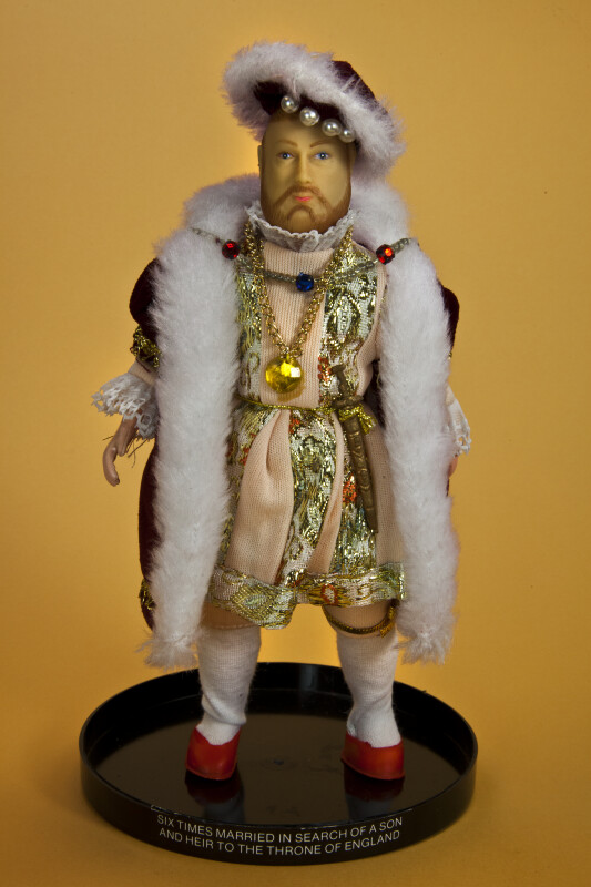 England Rubber and Plastic Doll of King Henry 8th Dressed in Royal Fashion (Full View)