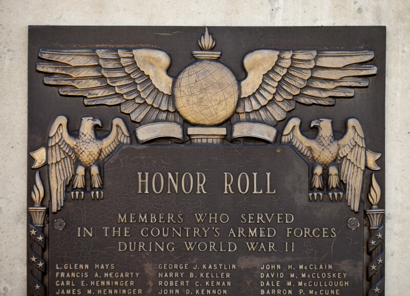 Engraving of Soldiers' Names at Soldiers and Sailors' Memorial Hall