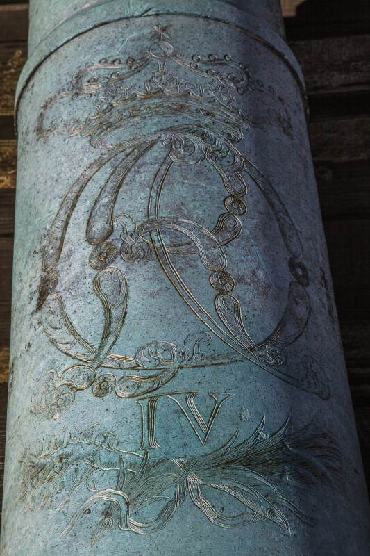 Engraving on an Oxidized, Bronze Cannon