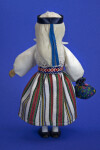 Estonia Handcrafted Female Made from Wood with Painted Face (Back View)