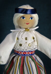 Estonia Handcrafted Female Doll with Woven Skirt and Wool Bag (Three Quarter Length)