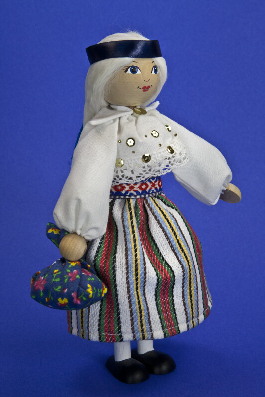 Estonia Handcrafted Female Made from Wood with Painted Face (Three Quarter View)