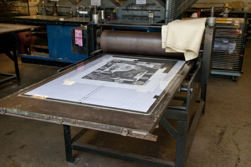 Etching Press in a print shop.