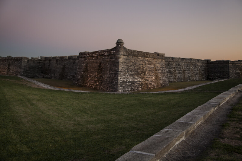 Exterior of Castillo de San Marcos' Northwest Corner from the Glacis