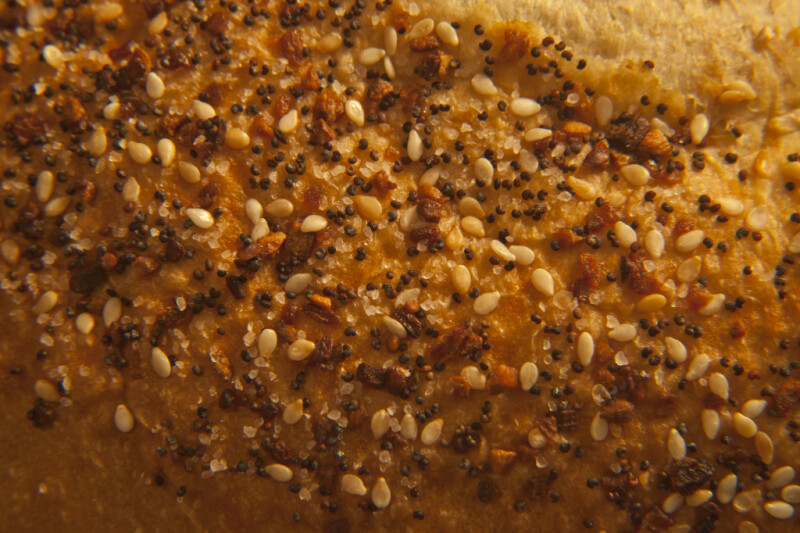 Extreme Closeup of a Seeded Italian Bread Loaf