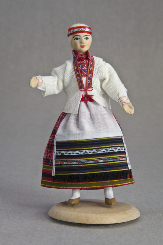 Finland Ceramic Doll in National Costume of Koivisto (Full View)