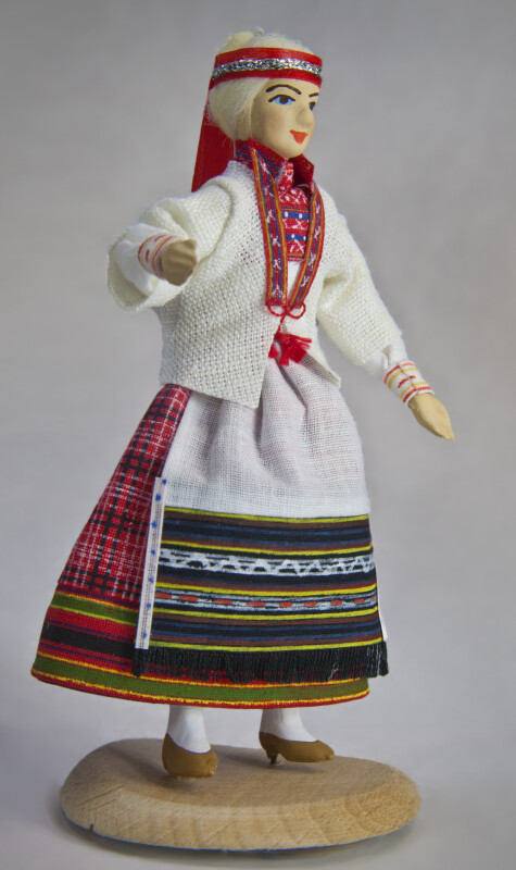 Finland Handcrafted Girl Wearing Traditional Dress with Apron,  Jacket and Headband (Three Quarter View)