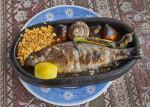 Fish Dish with Mushrooms, Rice, and Lemon