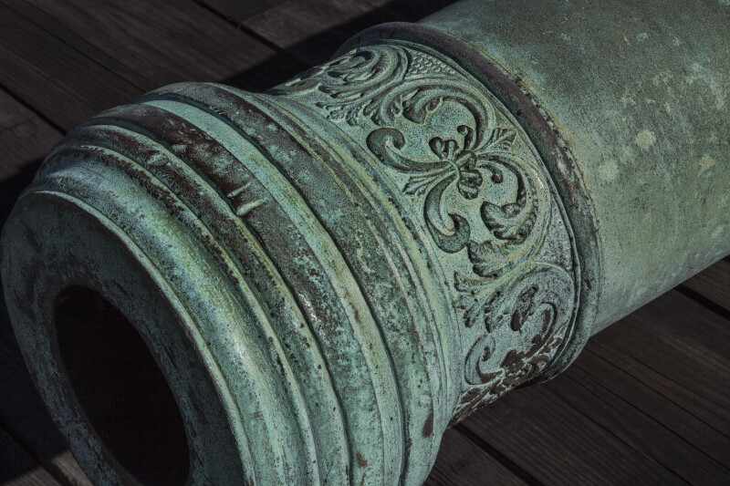 Fleur-de-Lis Designs on a Cannon Near its Barrel