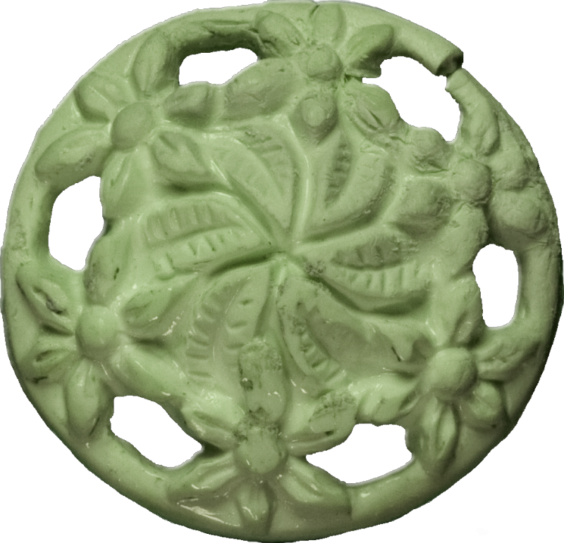 Floral Button with Cut-Outs, Celedon
