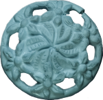 Floral Button with Cut-Outs, Light Blue
