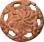 Floral Button with Cut-Outs, Tan