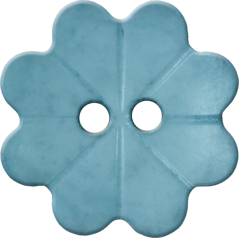 Floral Button with Eight Petals, Light Blue