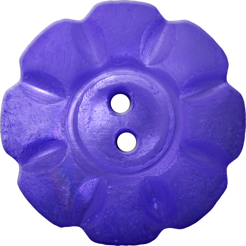Floral Button with Eight Squarish Petals, Blue-Violet