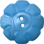Floral Button with Eight Squarish Petals, Blue