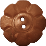 Floral Button with Eight Squarish Petals, Brown