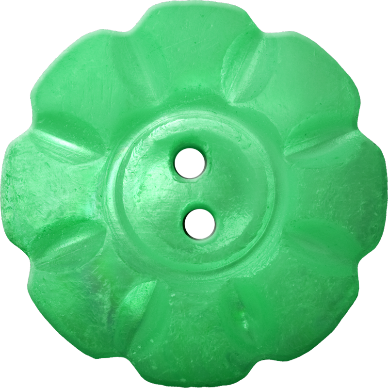 Floral Button with Eight Squarish Petals, Green