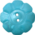 Floral Button with Eight Squarish Petals, Light Blue