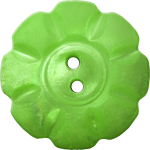 Floral Button with Eight Squarish Petals, Light Green
